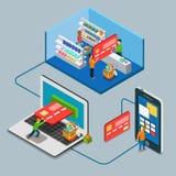 Flacher Vektor 3d der Kleinsupermarktspeichershop-Zahlung isometrisch Lizenzfreies Stockfoto