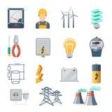 Flacher Vektor der Strom- und Energieindustrieikonen Stockbilder