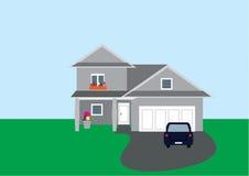 Flacher Vektor des Hauses mit Auto stock abbildung