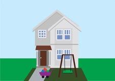 Flacher Vektor des Hauses mit Hintergrund lizenzfreie abbildung