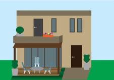 Flacher Vektor des Hauses mit Hintergrund stock abbildung