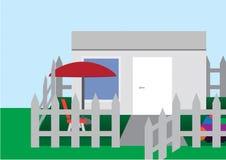 Flacher Vektor des kleinen Hauses mit Hintergrund vektor abbildung