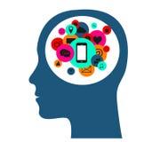 Flacher Vektor des menschlichen Kopfes mit Social Media-Ikonen, Lizenzfreies Stockbild