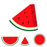 Flacher Vektorillustrationssatz Wassermelonenscheiben lizenzfreie stockfotos