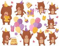 Flacher Vektorsatz des glücklichen Braunbären in den verschiedenen Aktionen Lustig humanisierte Tier im Parteihut Geburtstags-The lizenzfreie abbildung