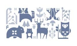 Flacher Vektorsatz einfarbige Waldikonen Nettes Karikaturtiere und pflanzen Dekorative Elemente für Buch oder Postkarte lizenzfreie abbildung