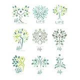Flacher Vektorsatz Lebenlogoschablonen mit Schattenbildern von Menschen- und Grünblättern Abstrakte Embleme für Yogastudio vektor abbildung