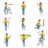 Flacher Vektorsatz Maler mit Ausrüstungsbürste, Rolle, Eimer mit Farbe, Schrittklappleiter Männer und Frauen im Blau vektor abbildung