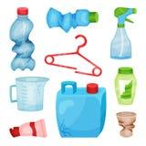 Flacher Vektorsatz Plastikabfall Zerknitterte Flaschen und Schale, gebrochener Aufhänger, geknackter Kanister und messender Krug  vektor abbildung