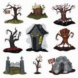 Flacher Vektorsatz schreckliche Landschaftselemente Gruseliges Haus, alte trockene Bäume, Steinhöhle, altes Eiseneingangstor lizenzfreie abbildung