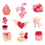 Flacher Vektorsatz unterschiedlicher Gegenstand bezogen auf Valentinsgrußtagesthema Feiertagsgeschenke Elemente für Grußkarten stock abbildung