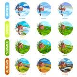 Flacher Vektorsatz von 12 Monaten des Jahres Winter, Frühling, Sommer und Herbstsaison Apfelbaum, Sonne, Blumen, Wolken, Wiese? E stock abbildung