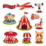 Flacher Vektorsatz Zirkusikonen Karussells, Wagen mit Schnellimbiß, Karten, starker Mann, Flugzeug mit Fahne vektor abbildung