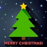 Flacher Weihnachtsbaum mit langem Schatten lizenzfreie abbildung