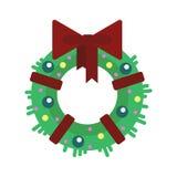 Flacher Weihnachtskranz mit den Bällen und Band, lokalisiert auf weißem Hintergrund - vector Illustration Guten Rutsch ins Neue J Lizenzfreie Stockfotos