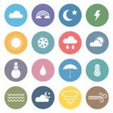 Flacher Wetter-Ikonen-Satz Stockbild