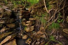 Flacherer Wasserfall auf dem kalten taiga Fluss Lizenzfreies Stockbild