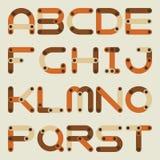 Flaches Alphabet des Vektors in der Bausatzart stock abbildung