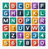 Flaches Alphabet gerundet Lokalisiert auf Weiß Lizenzfreies Stockfoto