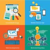 Flaches Art-Diagramm, Infographic und UI-Ikone Stockfotografie