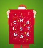 Flaches Art-Person Wearing Santa Suit Holding-Zusammenfassungs-Typografie-Plakat mit modernen Weihnachtsgrüßen Lizenzfreie Stockfotos
