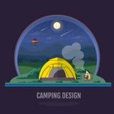 Flaches Artdesign von Bergen gestalten und Kampieren landschaftlich Nacht scen Stockfoto