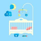 Flaches Babybett des Vektors Säuglingsschlafzimmer mit Mobile Stockfotos