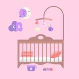 Flaches Babybett des Vektors Säuglingsschlafzimmer mit Mobile Lizenzfreies Stockfoto