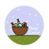 Flaches Bild Ostern auf einem blauen Hintergrund mit Gänseblümchen in einem Kreis Lizenzfreie Stockfotografie
