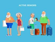 Flaches Charakterdesign des kühlen Vektors auf Senior Stockbild