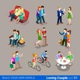 Flaches 3d isometrisches Netz der liebevollen Paare infographic Co Stock Abbildung