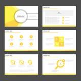 Flaches Design abstrakter gelber Darstellungsschablonen Infographic-Elemente stellte für Marketing der Broschürenflieger-Broschür Stockfotografie