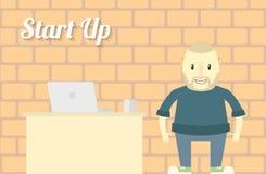 Flaches Design beginnen oben Hintergrund-Charakter mit Notizbuch Lizenzfreies Stockfoto