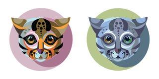 Flaches Design Bilder von Katzen in einem Kreis auf einem weißen Hintergrund Stockfotografie