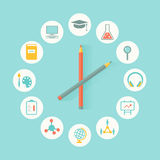 Flaches Design Bildungs-Ikonen Infographics Bildung, Lehrplan-Konzept Stockbilder
