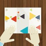 Flaches Design, Broschüren-Schablone Stockfoto