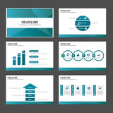Flaches Design der blauen Broschürenfliegerbroschürenwebsite-Schablone Darstellung des Polygons vielseitigen infographic Lizenzfreies Stockfoto