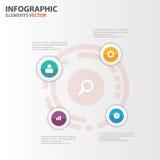 Flaches Design der bunten Kreis Infographic-Elementdarstellungs-Schablonen stellte für Marketing der Broschürenflieger-Broschüre  Stockfoto