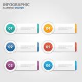 Flaches Design der bunten Kreisfahne Infographic-Elementdarstellungs-Schablonen stellte für Marketing der Broschürenflieger-Brosc Stockfoto