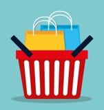 Flaches Design der Einkaufsikone, Vektorillustration Lizenzfreie Stockfotografie