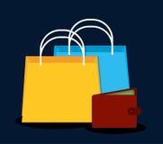 Flaches Design der Einkaufsikone, Vektorillustration Stockfotografie