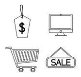 Flaches Design der Einkaufsikone, Vektorillustration Lizenzfreies Stockbild