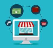 Flaches Design der Einkaufsikone, Vektorillustration Stockfoto