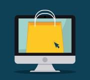Flaches Design der Einkaufsikone, Vektorillustration Stockbilder
