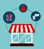 Flaches Design der Einkaufsikone, Vektorillustration Lizenzfreie Stockfotos