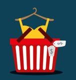 Flaches Design der Einkaufsikone, Vektorillustration Stockfotos