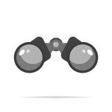 Flaches Design der Fernglas-Ikone mit Schattenblaukreis Stockfotografie