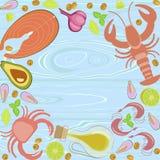 Flaches Design der frischen Meeresfrüchte Stockfoto