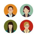 Flaches Design der gesetzten bunten weiblichen Gesichter Lizenzfreie Stockfotografie