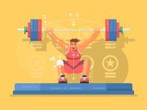 Flaches Design der Gewichthebenwettbewerbe stock abbildung
